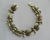 Silver Bracelet - Taxco Inlaid Abalone
