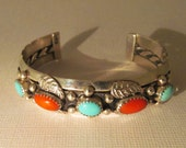 Dick Mike Yazzie Bracelet Turquoise Coral