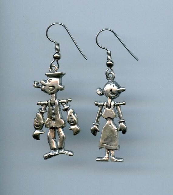 Silver Popeye Olive Oyl Earrings