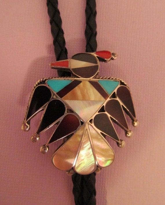 Vintage Zuni Bolo Tie Silver Inlay