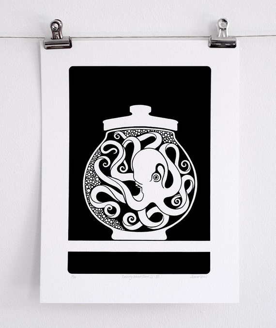 Curiosity Cabinet Series 1, No. 6 - Limited Edition Screenprint (Octopus)