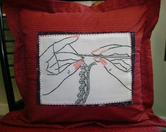 SALE    - Original  Design  Handcrafted - Embroidered - PILLOW Cover - 12X12