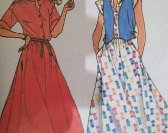 Sale - Loose Fitting Dress - Vest -  Butterick 6450 - Uncut -  Vintage - Bust 30 1/2 - 31 1/2
