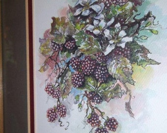 Sale - Print -  Watercolor  -  Framed  Berries  - Julia Crainer Artist - Cottage Chic