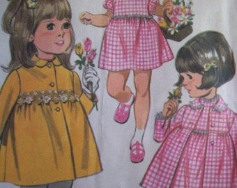 Sale - Toddler Coat - Dress -McCall's 9600  -  Vintage - 1968   Pattern - Size 6 Mos.- Breast 19