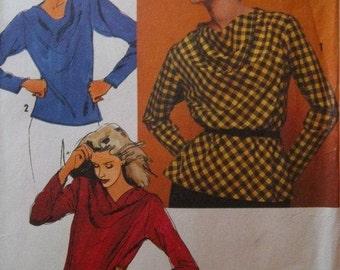 Sale - Vintage - Pullover Bias Blouse - Simplicity  9650 -  Bust 40 - 42 - 1980 - Uncut Pattern