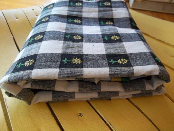 Cotton Fabric - Checked, Sunflowers  - Black, White, Gray, Yellow, Green - Two 1 yard pieces - Vintage - On Sale