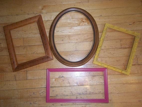 Vintage - Frames - Wood - Oval - Square - Rectangle - Unique