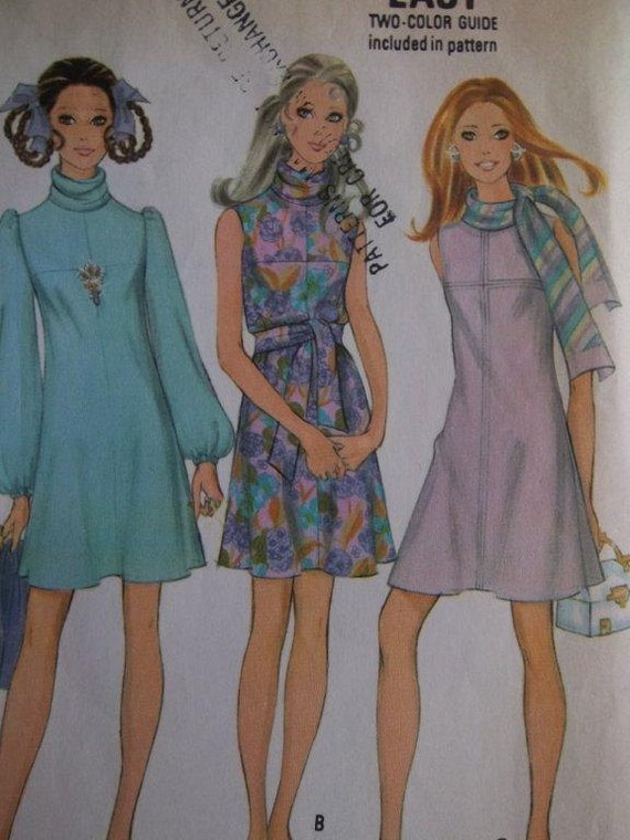 Sale - Vintage - 1969  - McCall's 9742 - Dress in Three Versions - A Line - Draped Collar