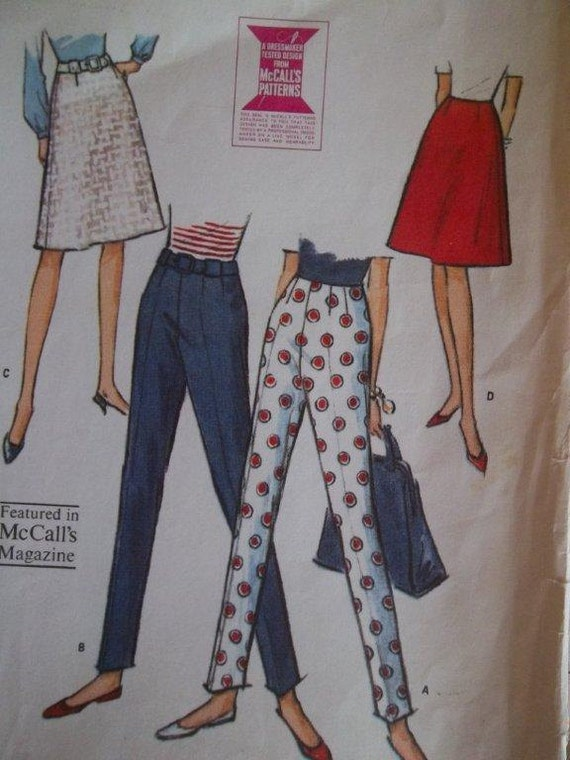 Sale - Vintage - 1965 - McCall's 7700 - Fitted Pants - Flared Skirt - Waist 24 - Hip 33