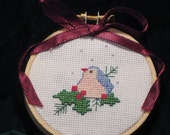 Blue Bird and Holly Christmas Ornament