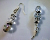 Not a Snowman - Crystal and Metal Bead Cap Dangle Earrings