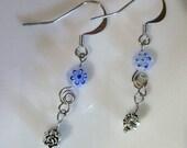Long Silver and Blue Millefiori Flower Bead Earrings