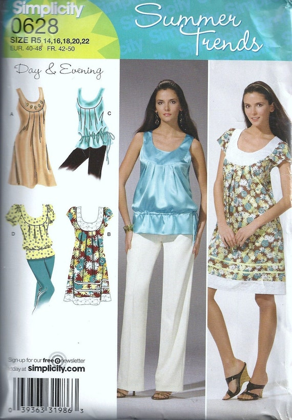 Simplicity Sewing Pattern Summer Trends 0628 Misses Dress Or