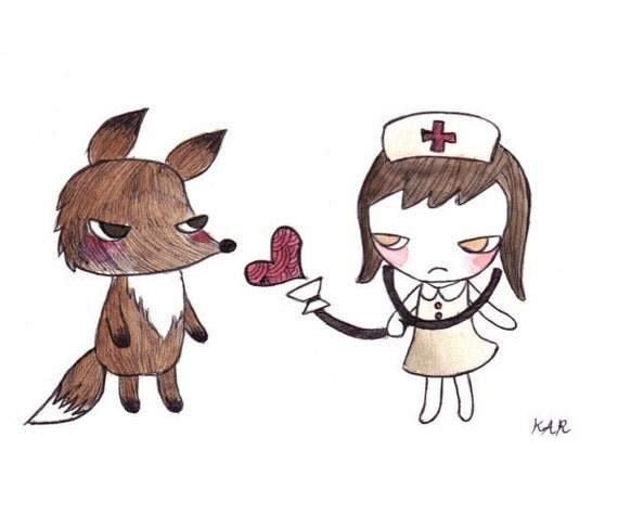 Nurse girl and Fox 4x6 original illustration