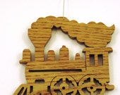 Scroll saw cut wooden train on tracks ornament--724c