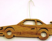 Scroll saw cut wooden race car ornament--83c
