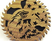 Eagle head and flag in sawblade scroll saw cut--5sb