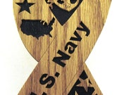 U.S. Navy ribbon scroll saw cut--6p