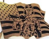Soldier in a flag scroll saw cut--20p