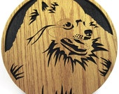 Wall plaque of a Pomeranian dog scroll saw cut--31df