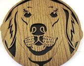Golden Retriever dog wall plaque scroll saw cut--20df