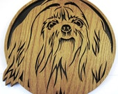 Wall hanging of a Shih Tzu dog scroll saw cut--41df