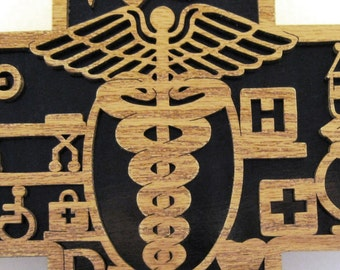 Healthcare scroll saw cut wall plaque--23cr