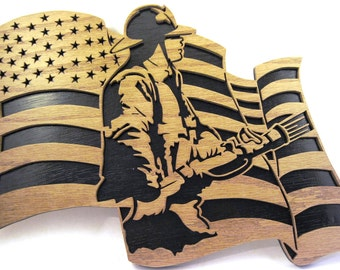 Firefighter in a flag scroll saw cut--1fire