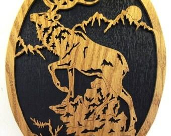 Elk on a mountain scroll saw cut--8de