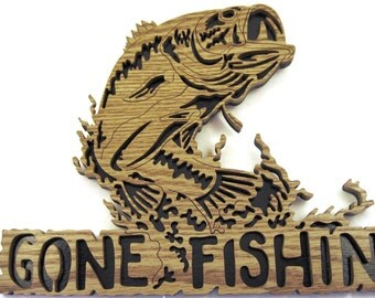 Gone Fishin' scroll saw cut sign handmade, woodworking, wall decor, fretwork, hobby, fishing--4fr