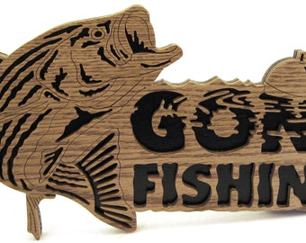 Gone Fishing Bass Sign scroll saw cut--5fr