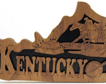 Wooden state of Kentucky scroll saw cut--3st