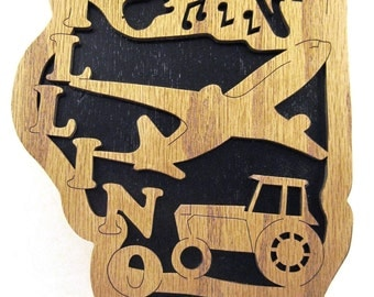 State of Illinois scroll saw cut--5st