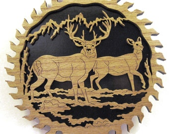 Two deer in a sawblade scroll saw cut--2sb