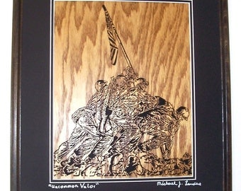 Uncommon Valor scroll saw art, framed picture, wall art--wa41