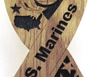 U.S. Marines Ribbon scroll saw cut--8p