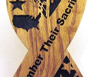Remember Their Sacrifice ribbon scroll saw cut--4p