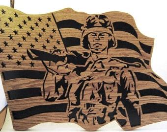 Soldier in a flag scroll saw cut--20p