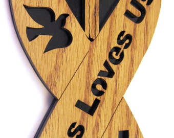 Jesus Loves Us Ribbon scroll saw cut--17p