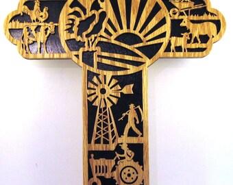 Farmer's themed scroll saw cut cross--31cr