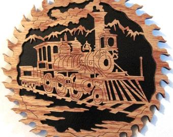 Train scene in a saw blade scroll saw cut handmade--3sb
