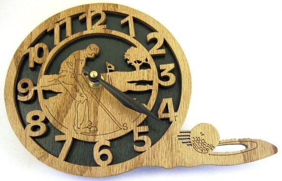 Golfing clock scroll saw cut--12cl
