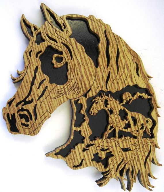 Horse head with minature horse inside it scroll saw cut--7H