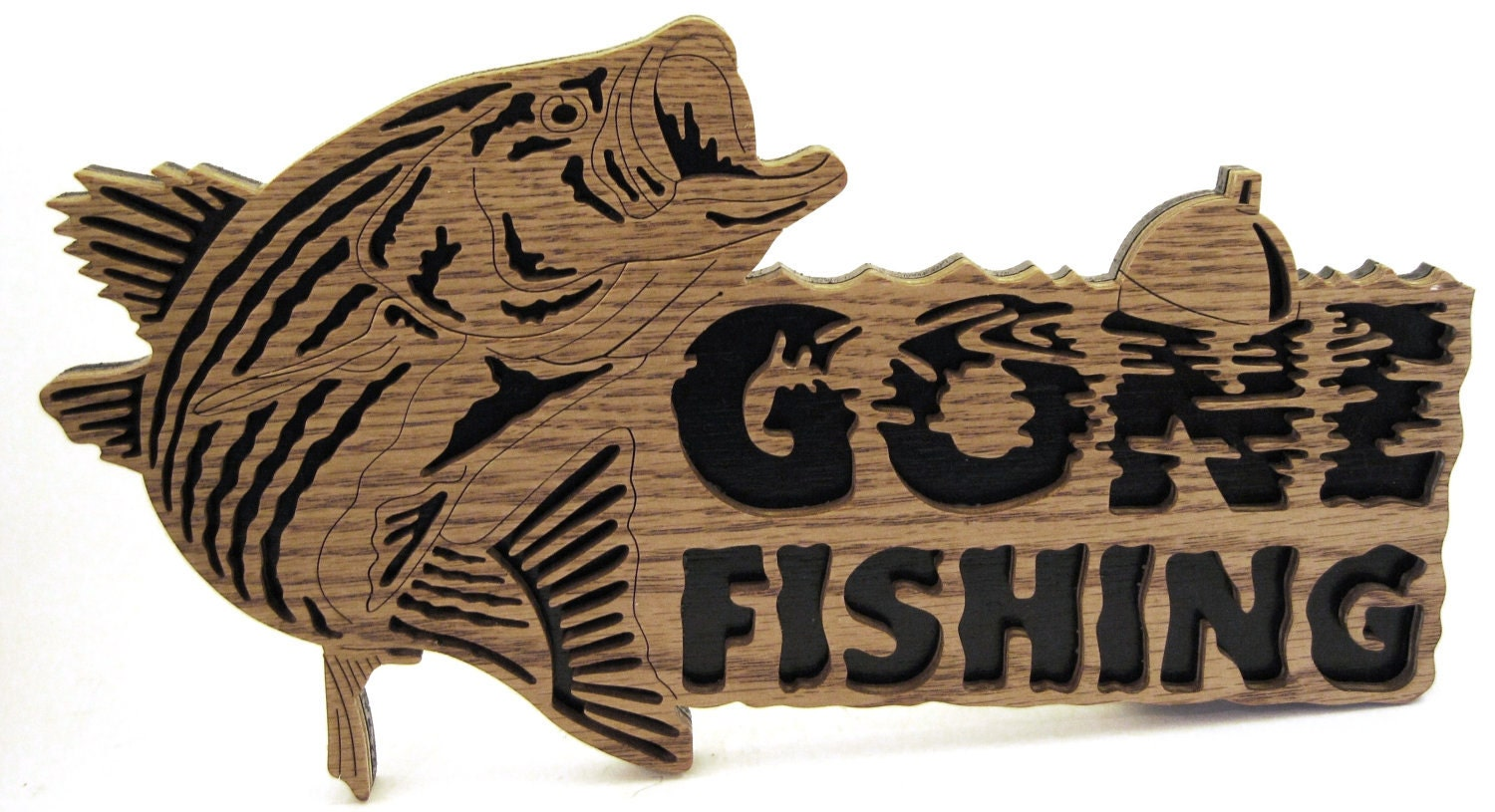 Gone fishing bass sign scroll saw cut5fr for Gone fishing sign