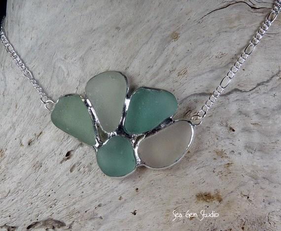 Sea glass, cluster necklace, cobalt blue seaglass, nautical jewelry, genuine, beach wedding