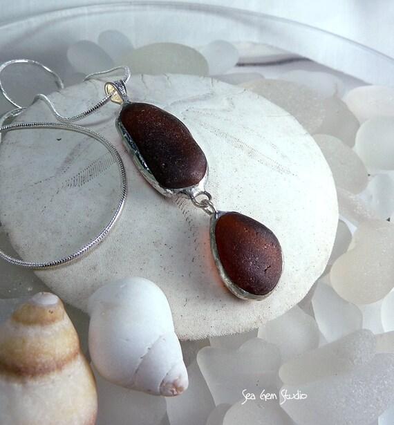Sea Glass Pendant, autumn, eco friendly, necklace, genuine sea glass, sea glass jewelry