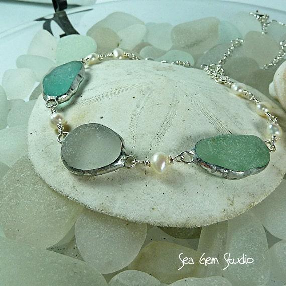 Brides Sea Glass Necklace, beach wedding, beach glass, sea glass necklace
