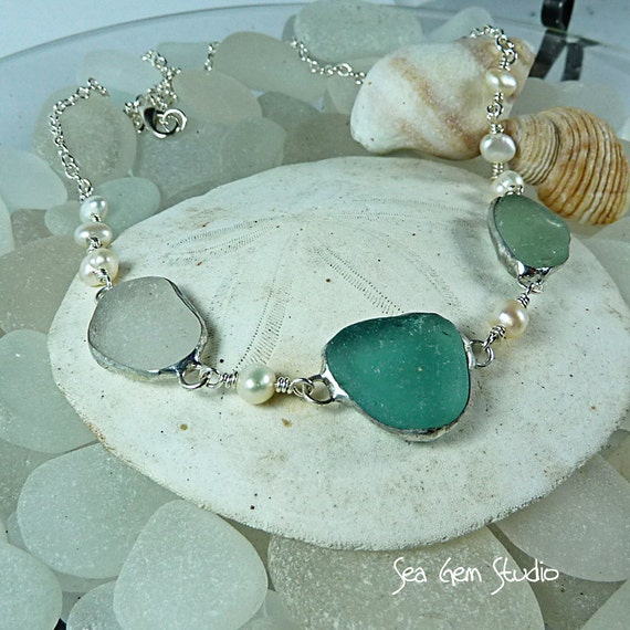 Brides Sea Glass Necklace, beach wedding, beach glass, sea glass necklace