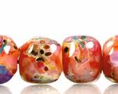 Peach, Pink, Coral, Fuschia and Purple - Stones - Lampwork Boro Beads